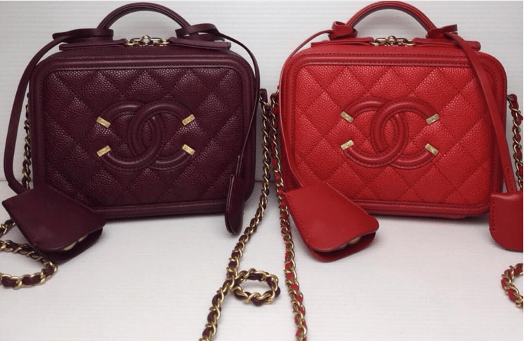 1022fd32dfe1 Chanel Burgundy Red CC Filigree Vanity Case Small Bags. IG  yui udomsittikul