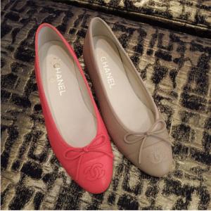 Chanel Fuchsia/Beige Ballerina Flats