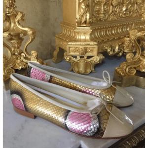 Chanel Gold/Pink Python/Calfskin Ballerina Flats