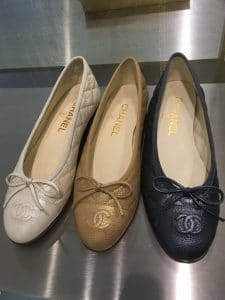 Chanel Ivory/Gold/Black Quilted Ballerina Flats