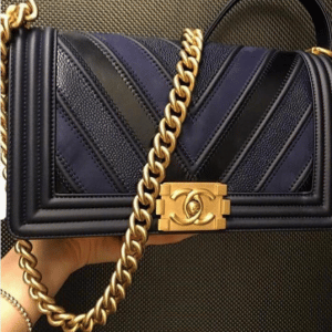 Chanel Navy Boy Chevron Old Medium Flap Bag 2