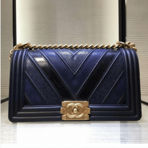Chanel Navy Boy Chevron Old Medium Flap Bag 3