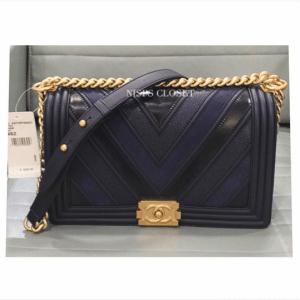 Chanel Navy Boy Chevron Old Medium Flap Bag