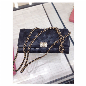 Chanel Navy Boy Chevron Wallet On Chain Bag