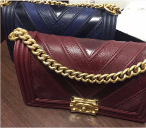 Chanel Navy and Burgundy Boy Chevron Old Medium Flap Bags