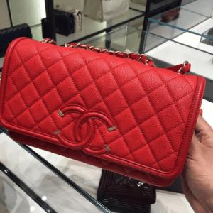 Chanel Red CC Filigree Flap Bag