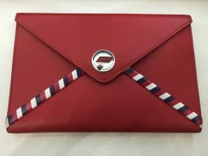 Chanel Red Chanel Airlines Zip Pouch Bag