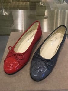 Chanel Red/Blue Lambskin and Patent Ballerina Flats