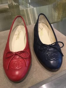 Chanel Red/Blue Quilted Ballerina Flats