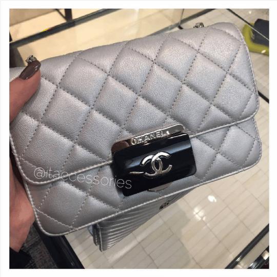 Chanel Silver Beauty Lock Flap Mini Bag
