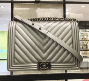 Chanel Silver Boy New Medium Bag
