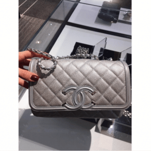 Chanel Silver CC Filigree Flap Small Bag