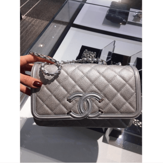 587a6c56c5d7 Chanel Silver CC Filigree Flap Small Bag. IG  lux brands boutique