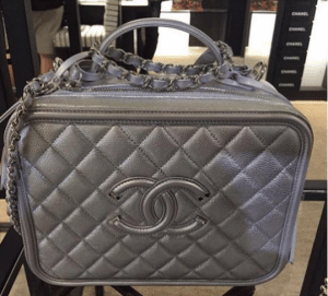Chanel Silver CC Filigree Vanity Case Medium Bag
