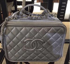 Chanel Silver CC Filigree Vanity Case Medium Bag