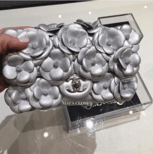 daaa00905532 IG  vipaccessori. Chanel Silver Camellia Flap Mini Bag. IG  nisiscloset2