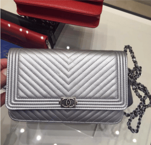Chanel Silver Chevron Boy WOC Bag