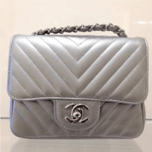 3f510547a755 ... Chanel Silver Chevron Classic Flap Mini Bag