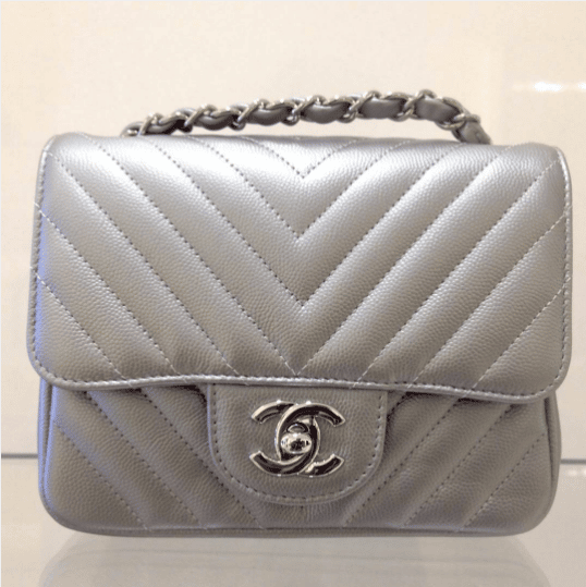 ecf3ff331565 Chanel Silver Chevron Classic Flap Mini Bag. IG  stylevialauren