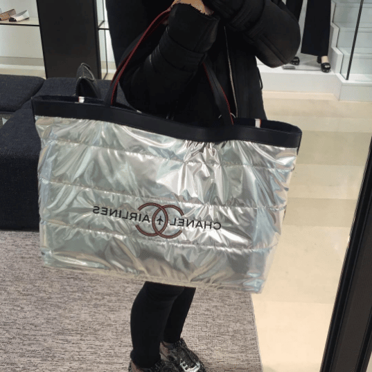 3201e0b13bd3 Chanel Silver Reversible Beachwear Tote Bag. IG  lux brands boutique