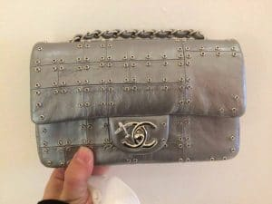 Chanel Silver Studded Mini Flap Bag