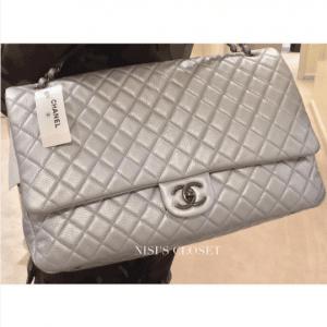 Chanel Silver XXL Classic Flap Bag