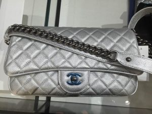 Chanel Silver with Chain Detail Flap Small Bag