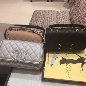 Chanel Silver/Beige/Black CC Filigree Flap Bags