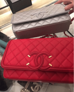 Chanel Silver/Red CC Filigree Flap Bags