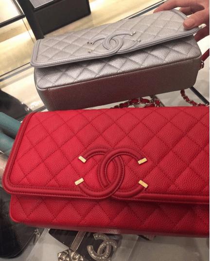 Chanel Silver Red CC Filigree Flap Bags. IG  i luxury4u  f1420c7f9ad4f