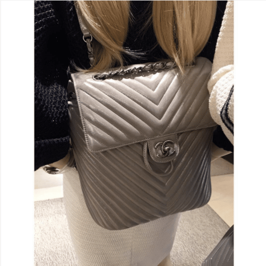 0b625e6cb12b Chanel Silver Chevron Urban Spirit Backpack Bag. IG: lux_brands_boutique