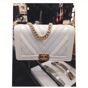 Chanel White Boy Chevron New Medium Flap Bag