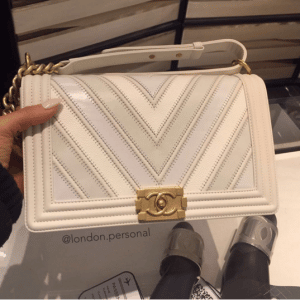 Chanel White Boy Chevron Old Medium Flap Bag