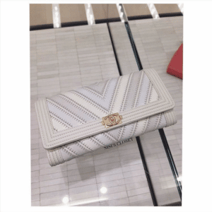 Chanel White Boy Chevron Wallet On Chain Bag
