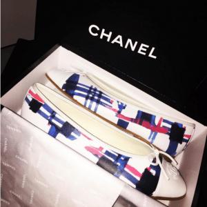 Chanel White Multicolor Printed Ballerina Flats 2