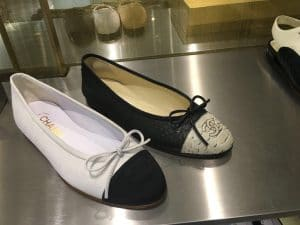 Chanel White/Black Suede and Python Ballerina Flats