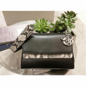 Dior Black Calfskin/Python Be Dior Double Flap Bag 2