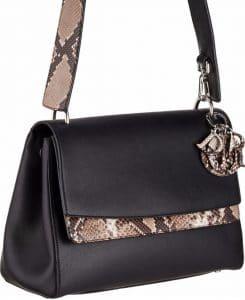 Dior Black Calfskin/Python Be Dior Double Flap Bag