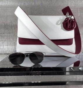Dior White/Burgundy Be Dior Double Flap Bag