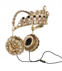 FRENDS x Dolce & Gabbana Gold Crown Embellished Headphones 1