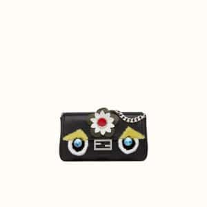 Fendi Black Flowerland Micro Baguette Bag