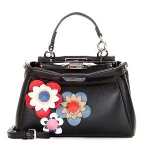 Fendi Black Flowerland Micro Peekaboo Bag