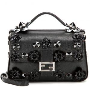 Fendi Black/Blue Leather/Mink Fur Flowerland Double Micro Baguette Bag