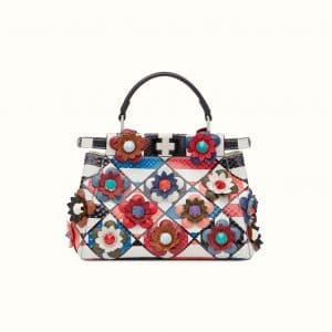 Fendi Multicolor Python Flowerland Peekaboo Mini Bag