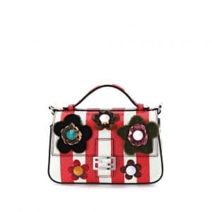 Fendi Red/Blue Python Flowerland Double Micro Baguette Bag