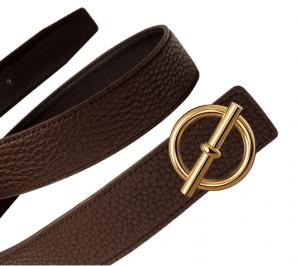 Hermes Black Box and Chocolate Brown Togo Gold Glenan Belt