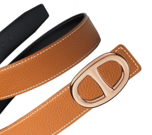 Hermes Black Box and Gold Togo Rose Gold Chaine d'Ancre Buckle Belt