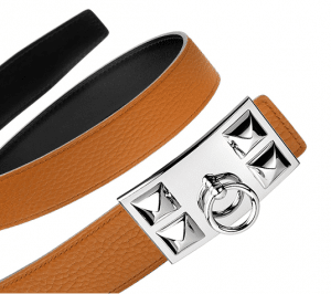 Hermes Black Box and Orange Togo Silver Collier de Chien Buckle Belt