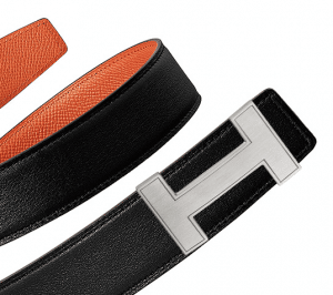 Hermes Black Swift and Gold Epsom Brushed Finish Silver Quizz Belt