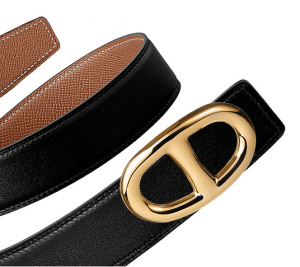 Hermes Black Swift and Gold Epsom Gold Chaine d'Ancre Buckle Belt